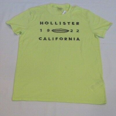 NEW MEN'S HOLLISTER CO- SHORT SLEEVE GRAPHIC T-SHIRT BRIGHT YELLOW SIZE SMALL