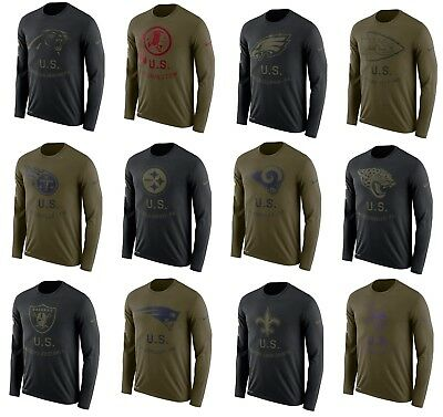 Mens NFL 2018 Salute to Service Long Sleeve T-Shirt  Several Teams and Sizes
