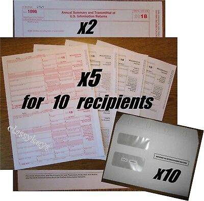 2018 IRS TAX FORMS KIT 1099-MISC Laser 10 recipients-envelopes-21096 TF6103
