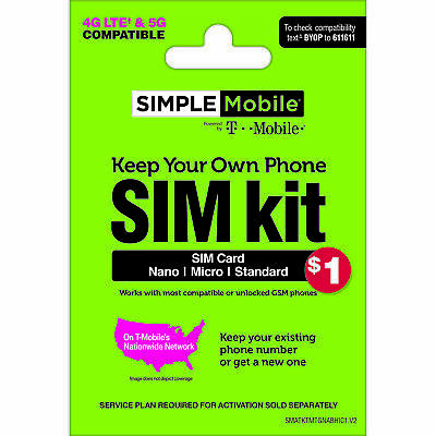 Simple Mobile Keep Your Own Phone 3-in-1 Prepaid SIM