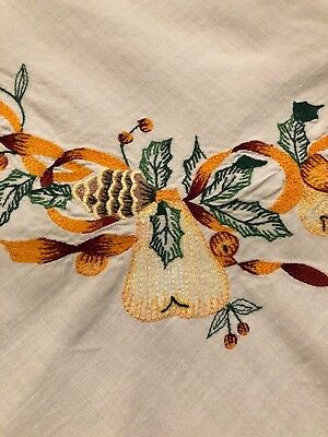 Vintage White Cotton Embroidered Tablecloth For Autumn Thanksgiving Fall