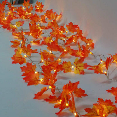 Thanksgiving Home Garden Decor 4m LED String Lights Harvest Maple Leaves Lighted