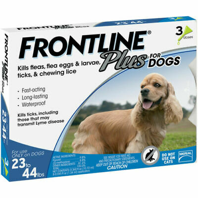 Merial Frontline PLUS Blue 3 Pack For Dogs 23 - 44 lb NO BOX