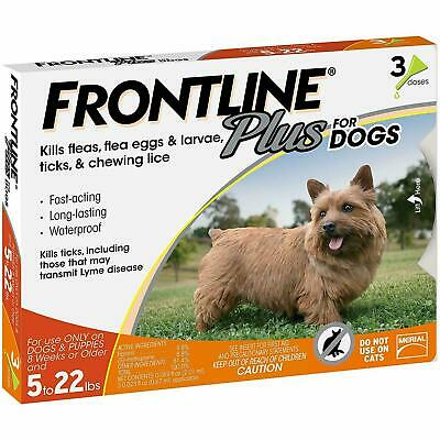 FRONTLINE Plus Flea and Tick Control for 5-22lbs Dogs - 3 Doses NOBOX