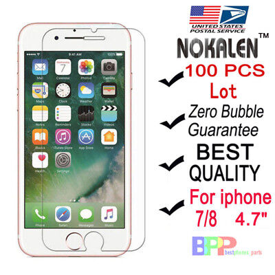 100x Wholesale Lot Tempered Glass Screen Protector for Apple iPhone 6 7 8 4-7
