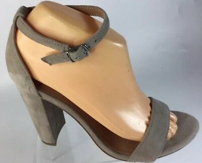 STEVE MADDEN ANKLA STRAP PUMP SZ 8-5 HEEL 4 Inches COLOR TAUPE LEATHER UPPER