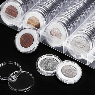 100 Luxury 30mm Clear Round Plastic Coin Capsule Newest Available Box Holder