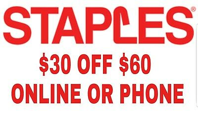 Staples Coupon 30 off 60 purchase online or by phone expires 11182018