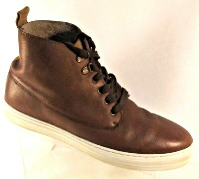 ALDO Mens Cognac Size 13 Leather Lace Up Casual Elegant Ankle Sneaker Ankle Boot