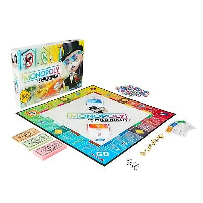 MONOPOLY FOR MILLENNIALS MILLENIALS MILENNIALS BOARD GAME Ages 8- SHIPS TODAY