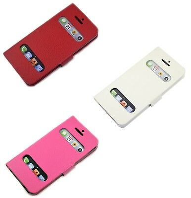 For Apple iPhone 55SSE Window Viewing Design PU Leather Wallet Case Cover