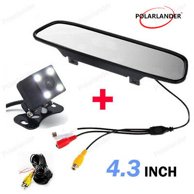 "4.3"" CCD Car Parking Monitor 4 LED Rear View Camera  Night Vision Glass Lens"