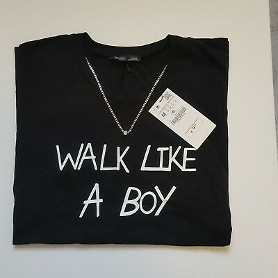 Zara Womens Graphic T-Shirt Size Large Black And White New With Tags