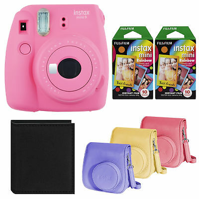 Fujifilm Instax Mini 9 Instant Camera Pink with Rainbow Film and Case Bundle