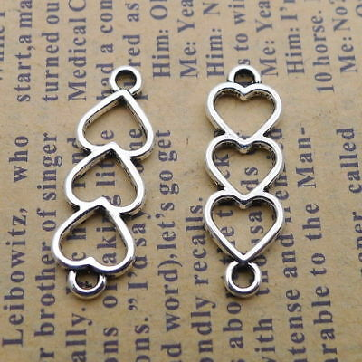 20pcs Creative Hollow Hearts Connector Pendant Silver DIY Accessories 8x24mm