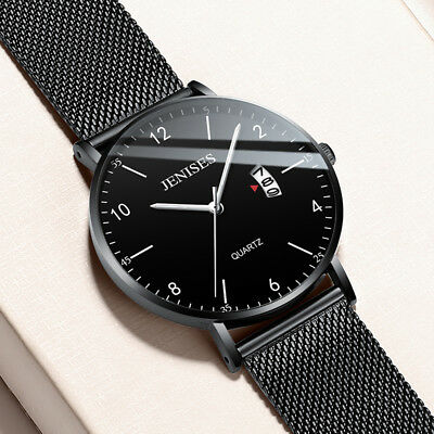 Luxury Mens Analog Date Slim Mesh Stainless Steel Dress Wrist Watch Waterproof