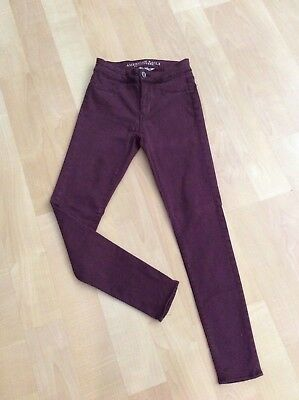 Womens American Eagle Outfitters AE Super Stretch Extreme Legging Burgundy Sz 0