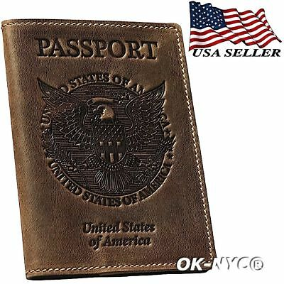 100 Genuine Leather VINTAGE PASSPORT COVER Travel Wallet Holder ID Cards Case