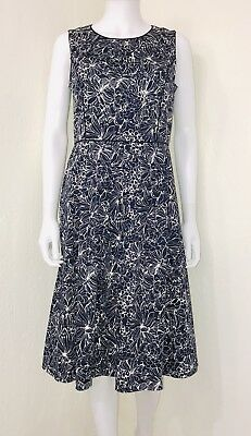 Talbots Navy White Floral Sleeveless Fit Flare A-line Dress Career Size 8 EUC
