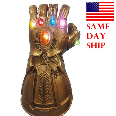 US Thanos Infinity Gauntlet LED Light Gloves Cosplay Avengers Infinity War Prop