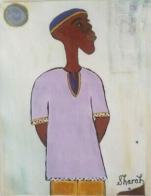 African American Art Man Island Carribean Colorful11x14 Poster Oil -Acrylic