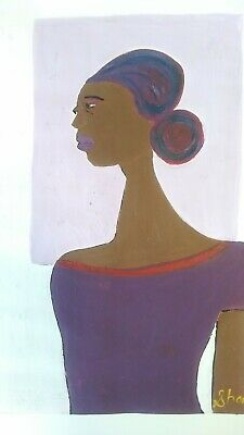 African American Art Woman And  Colorful 11x14 Poster Oil -Acrylic Purple