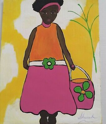 African American Art  Girl 11x14 Poster Oil -Acrylic Lime Green Pink Orange