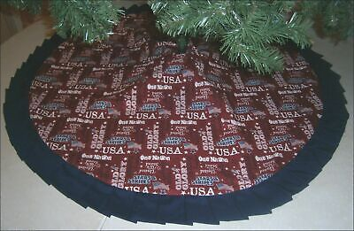 Fourth of July Tree Skirt - 47 -  U-S- Sayings on Red  Custom Made