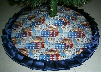 Fourth of July Tabletop Tree Skirt - 24 -  Flags Stars - Statues of Liberty