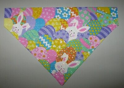 Easter Bunnies - Eggs Dog Bandana Scarf-Slide over Collar-Size Small to XLarge