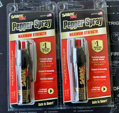 2 Sabre Pepper Spray  1 Brand used by Police P22 SAME DAY FAST FREE SHIPPING