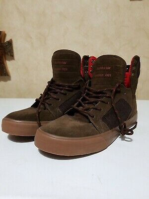 Supra Skytop Mens Brown Suede High Top Lace Up Sneakers Shoes 7-5