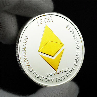 ETH Ethereum Cryptocurrency Virtual Currency Gold - Silver Plated Coin  BITCOIN