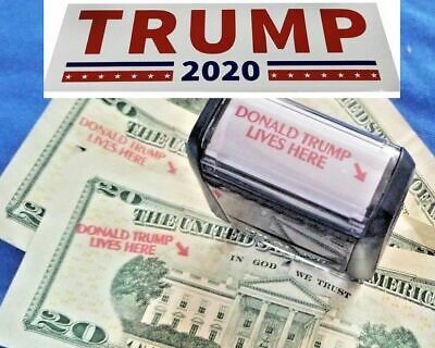 1 NEW Donald Trump Lives Here Stamp for 20s - 1 FREE TRUMP 2020 Bumper Sticker