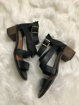 Womens Steve Madden Raeleen Strappy Sandals Size 10M Black Leather Wood Heel