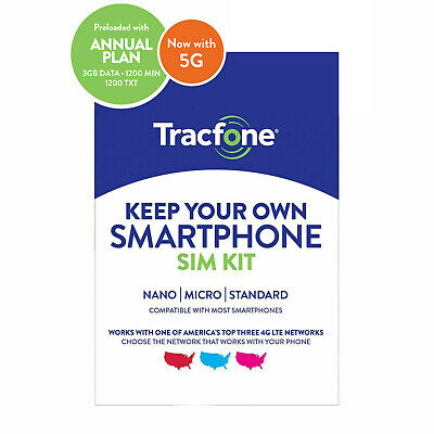 Tracfone Prepaid Wireless Smartphone SIM-Plan-1200 Min1200 Txt 3GB Data