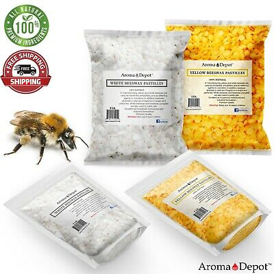 PURE 100 Natural BEESWAX Yellow White PASTILLES BEADS PELLETS Candles Chapstick