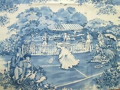 Waverly Wimbledon Collection Blue Victorian Toile Cotton Fabric Remnant Tennis
