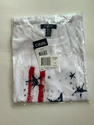Chaps Graphic Flag Patriotic Womens T shirt 4th of July Sz Small NWT 49-00