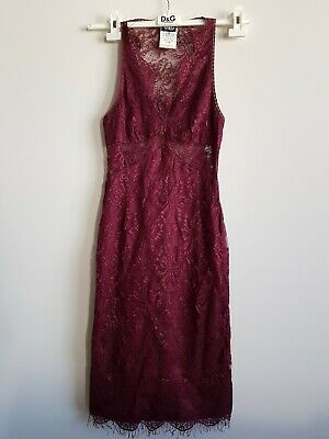 Dolce Gabbana Burgundy Peekaboo Lace Cocktail Kate Middleton Dress D-G XS 26 40