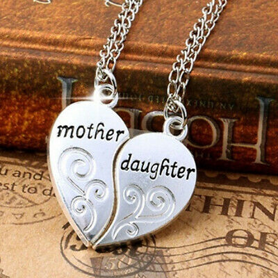 Mother And Daughter Heart Pendant Necklace Women Love Gifts For Mothers Day