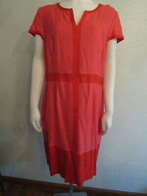 Boden Tailored Dress Cap Sleeve Coral Red Color Block 12 US16 UK Kate Middleton