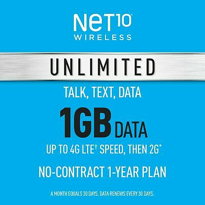 Net10 Prepaid Wireless Phone Plan - SIM - Unlimited Talk - Text 1GB per Month