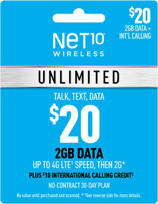 Net10 Unlimited Plan - Unlimited Talk Text 2GB Data with 30 Days of Service