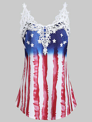 Large American Flag Patriotic Women Tank Top 4th of July USA Flag Tee Vest Shirt