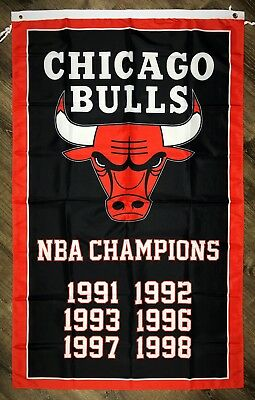Chicago Bulls NBA Championship FLAG 3x5 ft Sports Black Banner Man-Cave Garage