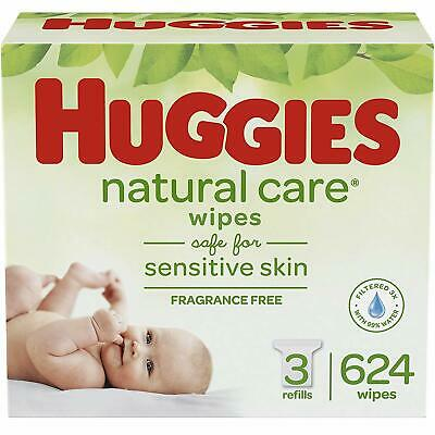 HUGGIES Natural Care Unscented Baby Wipes Sensitive 3 Refill Packs 624 Total