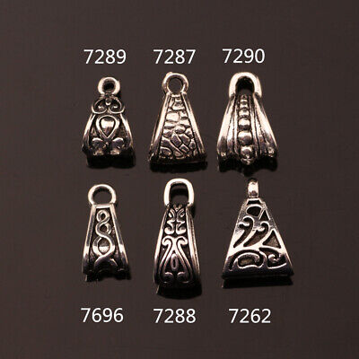 1050pcs Charms Triangle Pendant Connector Tibetan Silver Jewewlry Bail Clasps E