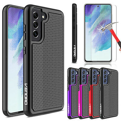 For Samsung Galaxy S21 FE Case Hybrid Shockproof Dual Layer CoverTempered Galss