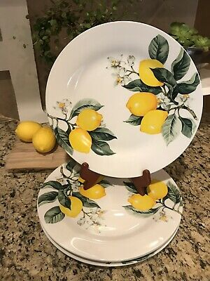 NEW Set of 4 Royal Norfolk Greenbrier International Yellow Lemons Dinner Plates